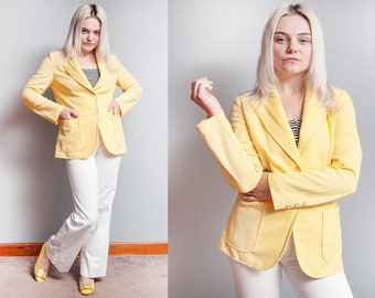 Vintage 1970's | Bright Yellow | Suit | Blazer | Large Collar | Jacket | M