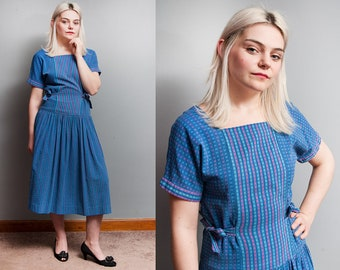 Vintage 1950's | Blue | Cotton | Drop Waist | New Look | Midi | Dress | S/M