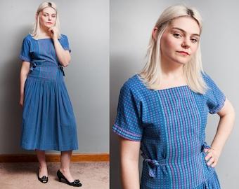 ON SALE - Free Shipping - Vintage 1950's | Blue | Cotton | Drop Waist | New Look | Midi | Dress | S/M