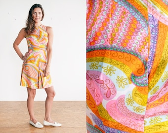 Vintage 1960's | Psychedelic | Mod | Colorful | Romper | Playsuit | S