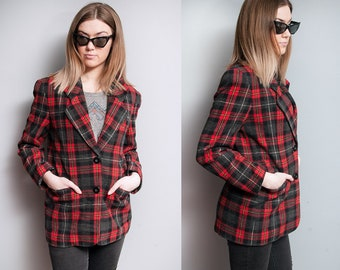 Vintage 1990's | Black & Red | Plaid | Boyfriend | Preppy | Blazer | XS/S