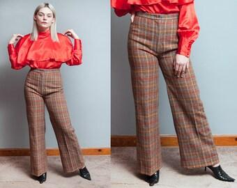 Vintage 1970's | Plaid | High Waist | Wide Leg | Wool | Trouser | Menswear | Pants | S