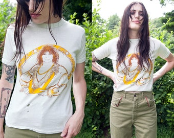Vintage 1970's | Rare | Rod Stewart | Fitted | Women's | 100% Cotton | T-Shirt | XS/S