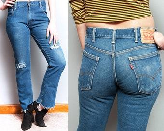 Vintage 1980's/1990's | Medium Wash | LEVI'S | 517 | Denim | Distressed | Jeans | 5 Pocket | Mid Rise | Straight Leg | M