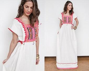 Vintage   Ethnic   Heavily Embellished   Peasant   Boho   Cotton   Maxi   Dress   L/XL