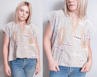 Vintage 1970's | Ethnic | Cotton | Boxy | Bohemian | Top | Metallic Threading | SML