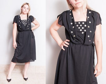 Vintage 1970's | NWT | Never Worn | Black | Disco | Embellished | Dress | S