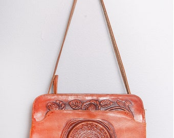 Vintage 1970's | Brown | Leather | Mexican | Floral | Tooled | Purse | Shoulder Bag