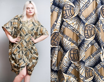 Vintage 1980's | The African Village | Gold & Black | Draped | Cotton | Ethnic | Dress | One Size