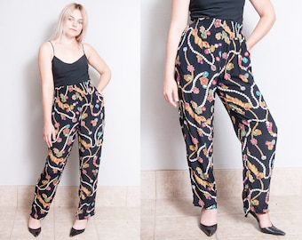 Vintage 1990's | Black | Printed | Loose Fitting | Lightweight | High Waist | Pants | S