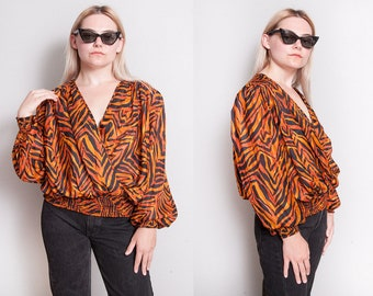 Vintage 1980's/1990's | 100% Silk | Tiger Striped | Animal Print | Blouse | M/L