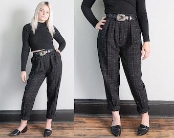 Vintage 1980's   Black   High Rise   High Waist   Pleated   Trouser   Pants   S
