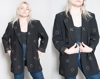 Vintage 1990's | Oversized | Black | X's and O's | Rhinestone | Long | Blazer | SML