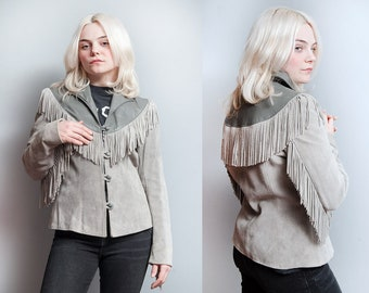 Vintage 1970's/1980's | Gray | Suede & Leather | Fringe | Jacket | S