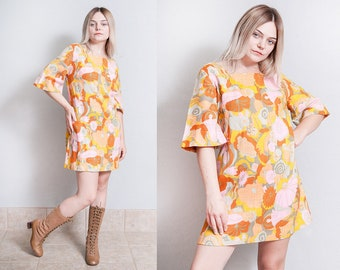Vintage 1960's | Floral | MOD | Printed | Patterned | Mini | Dress | L