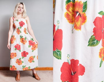 Vintage 1980's | Tropical | Floral | Hibiscus | Spaghetti Strap | Midi | Dress | S