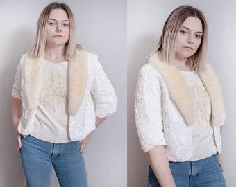 Vintage 1960's | Ivory | Textured | Cropped | Fur Collar | Mid Century | Jacket | M