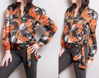 Vintage 1980's | Printed | Mixed Patterned | Blouse | M