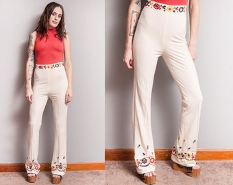 Vintage 1970's | Floral | Embroidered | Flared | Bell Bottom | High Waist | Pants | XS