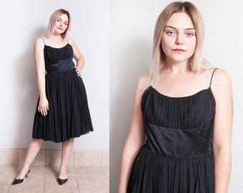 Vintage 1950's | Black | Fit & Flare | Mid Century | Party | Spaghetti Strap | Dress | XXS
