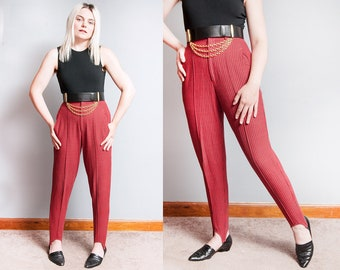 Vintage 1990's | Red & Black | Checkered | Cotton | High Waist | High Rise | Stirrup | Pants | XS/S