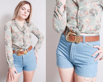 Vintage 1970's | Faded Glory | Light Wash | High Rise | Denim | Jean | Shorts | S