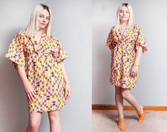 Vintage 1970's | Empire Waist | Triangle Print | Cotton | Mini | Dress | S/M