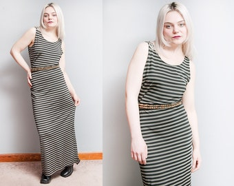 Vintage 1990's | Black & White | Striped | Slinky | Maxi | Dress | M/L