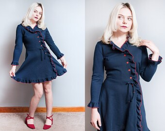 Vintage 1960's | Navy Blue & Red | Ruffled | Cascade | Mini | Dress | XS/S