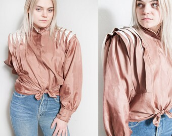 Vintage 1980's | OS | Copper | Futuristic | Blouse | New Wave | Top | SML