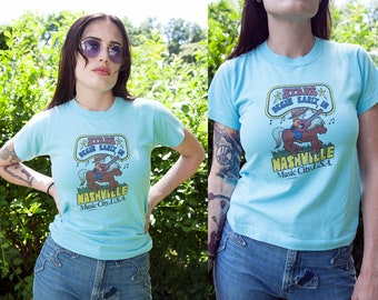 Vintage 1980's | Nashville Music City USA | Novelty | Fitted | T-Shirt | XS/S