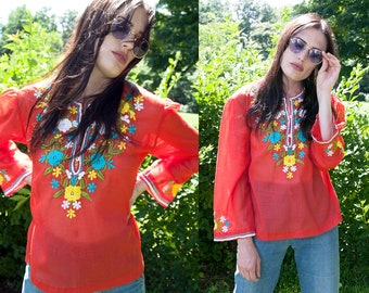 Vintage 1970's | Red | Floral Embroidered | Sheer | Ethnic | Boho | Blouse | Top | XS/S