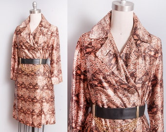Vintage 1960's | Snakeskin | Large Collar | Trench | MOD | Coat | L