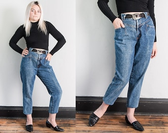 Vintage 1980's | Stone Washed | High Rise | High Waist | Denim | Tapered | Jeans | S