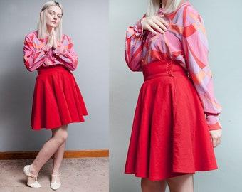 Vintage 1980's/1990's   Red   Velvet   United Colors of BENETTON   High Waist   Skater   Fit & Flare   Skirt   XS/S