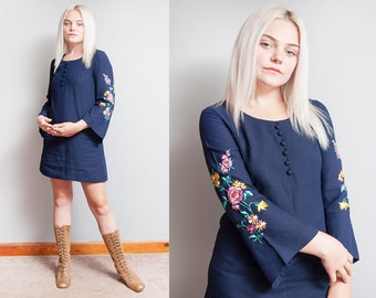 Vintage 1960's/1970's | Navy Blue | Floral | Embroidered | Babydoll | Mini | Bohemian | Dress | S