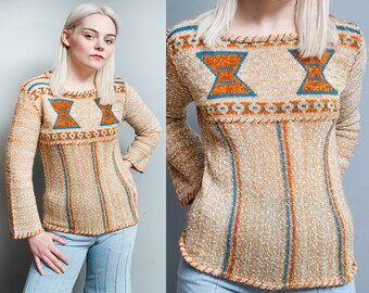 Vintage 1970's | Aztec | Lightweight | Pullover | Knit | Sweater | S