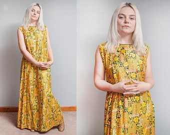 Vintage 1970's | Yellow | Empire Waist | Psychedelic | Maxi | 100% Cotton | Dress | L/XL