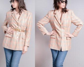 Vintage 1980's | Escada | Plaid | Gold Metallic Threading | OS | Wool Blend | Blazer | M/L