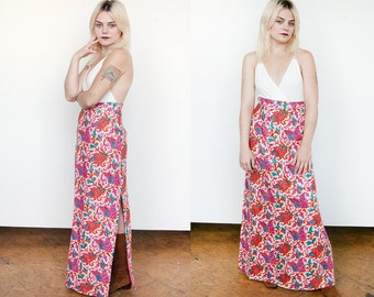 Vintage 1970's | Floral | Silk | Side Slit | Tapestry | Maxi | Skirt | L