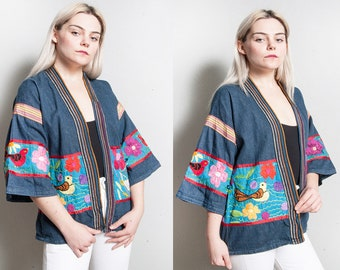 Vintage 1970's | Embroidered | Denim | Kimono Style | Topper | Lightweight | Jacket | Flowers | Birds | Butterflies | S