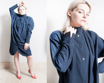 Vintage 1980's | Gianfrano FERRE | OS | Navy Blue | Wool | Minimalist| Dress | SML