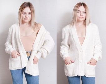 Vintage 1980's | Winter White | Cozy | Cardigan | Sweater | SML