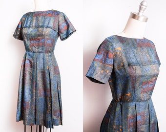 Vintage 1950's | Fit & Flare | Pleated Skirt |  New Look | Mid Century | Dress | S
