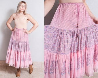 Vintage 1970's | India Cotton | Pink | Floral | Bohemian | Skirt | Beaded Tassels | S/M