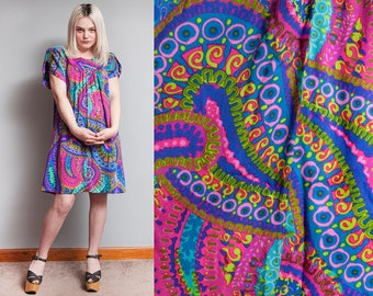 Vintage 1960's/1970's | Bright | Colorful | Psychedelic | Tent | Mini | Dress | L/XL