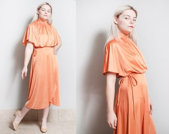Vintage 1970's | Orange | Disco | Flowy | Dress | S
