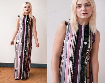 Vintage 1970's | Vertical Striped | Maxi | Dress | Black Sequin Detail | S