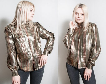 Vintage 1970's | Bob Mackie | Gold | Metallic | Plaid | Disco | Blouse | Top | M