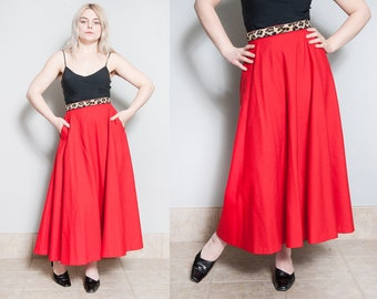 Vintage 1980's | Red | 100% Wool | CHRISTIAN DIOR | Midi Skirt | S/M